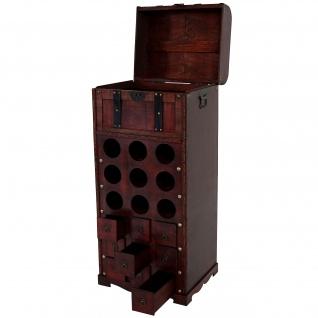 Weinregal Calvados T253, Flaschenregal Regal Holzregal für 9 Flaschen, Kolonialstil 104x45x38cm - Vorschau 2