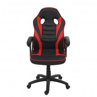 Bürostuhl HWC-F59, Schreibtischstuhl Drehstuhl Racing-Chair Gaming-Chair, Kunstleder ~ schwarz/rot - Vorschau 3