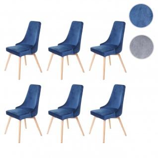 6x Esszimmerstuhl HWC-B44, Stuhl Küchenstuhl, Retro 50er Jahre Design Samt petrol