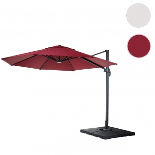 Gastronomie-Ampelschirm HWC-A96, Sonnenschirm, rund Ø 3, 5m Polyester Alu/Stahl 26kg ~ bordeaux mit Ständer