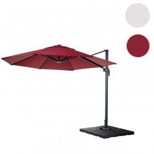 Gastronomie-Ampelschirm HWC-A96, Sonnenschirm, rund Ø 4m Polyester Alu/Stahl 27kg ~ bordeaux mit Ständer, drehbar