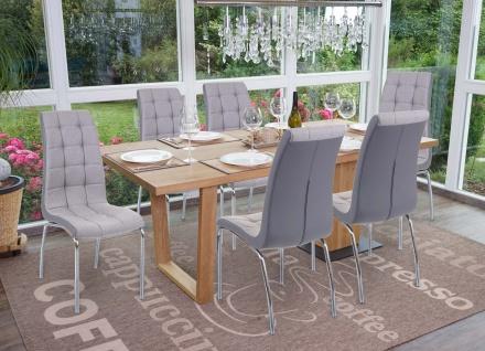 6x Esszimmerstuhl HWC-F29, Stuhl Küchenstuhl, Kunstleder Stoff/Textil hellgrau