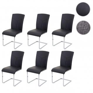 6x Esszimmerstuhl HWC-F36, Freischwinger Küchenstuhl Konferenzstuhl ~ Kunstleder, schwarz