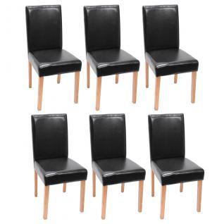 6x Esszimmerstuhl Stuhl Küchenstuhl Littau ~ Kunstleder, schwarz, helle Beine