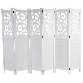 Paravent, Raumteiler Trennwand, Ornamente ~weiß 170x241cm