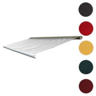 Bezug für Markise T122, Vollkassette Ersatzbezug Sonnenschutz 4x3m ~ Acryl grau-weiß