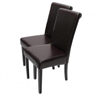 2xEsszimmerstuhl Stuhl Küchenstuhl Novara II, LEDER ~ braun, dunkle Beine