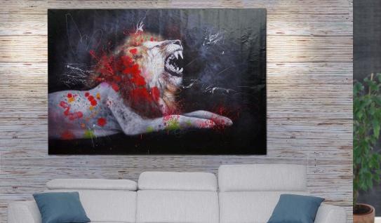 Ölgemälde Löwe HWC-H25, Leinwandbild Wandgemälde Gemälde, handgemaltes XL Wandbild ~ 80x120cm
