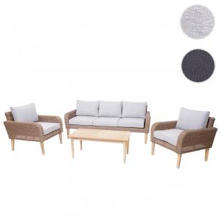 Garnitur HWC-H57, Garten-/Lounge-Set Sofa Sitzgruppe, rundes Poly-Rattan Alu + Akazie Spun Poly ~ Kissen hellgrau