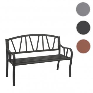 Gartenbank HWC-F53, Bank Parkbank Sitzbank, 2-Sitzer pulverbeschichteter Stahl ~ schwarz