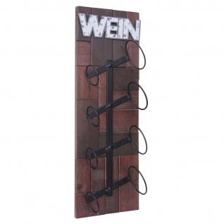 Weinregal HWC-A90, Flaschenregal Wandregal Flaschenhalter, Holz Metall für 4 Flaschen 60x20x11cm - Vorschau 3
