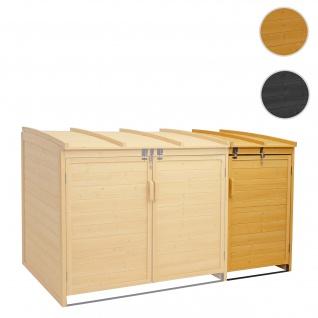 XL 1er-/2er-Mülltonnenverkleidung Erweiterung HWC-H75, Mülltonnenbox, 116x66x92cm Holz FSC-zertifiziert ~ braun