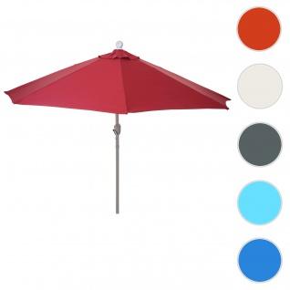 Sonnenschirm halbrund Parla, Halbschirm Balkonschirm, UV 50+ Polyester/Alu 3kg ~ 300cm bordeaux ohne Ständer