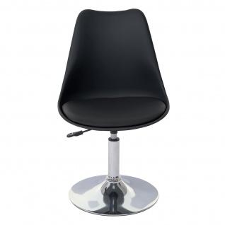 Drehstuhl Malmö T501, Stuhl Küchenstuhl, höhenverstellbar, Kunstleder ~ schwarz, Chromfuß - Vorschau 3