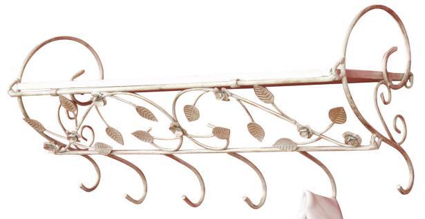 Wandgarderobe H79, Garderobe Kleiderhaken, Blattverzierung, 31x73x24cm creme-weiß