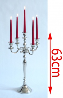 Kerzenleuchter, 5-armig, Metall vernickelt ~ 63 cm - Vorschau 2