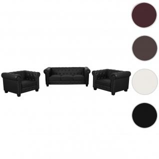 Luxus 3-1-1 Sofagarnitur Chesterfield Kunstleder eckige Füße, schwarz