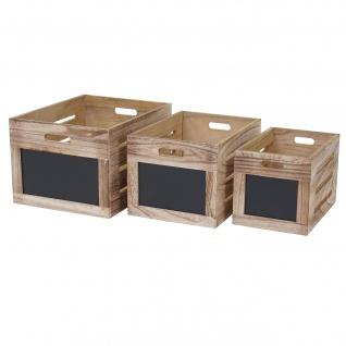 3er Set Holzkiste HWC-E11, Aufbewahrungsbox mit Tafel, Shabby-Look ~ naturbraun - Vorschau 5