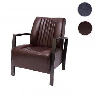 Sessel HWC-H10, Loungesessel Polstersessel Relaxsessel, Metall Industriedesign ~ vintage braun