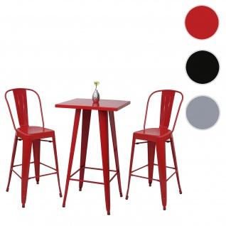 Set Stehtisch + 2x Barhocker HWC-A73, Barstuhl Bartisch, Metall Industriedesign ~ rot