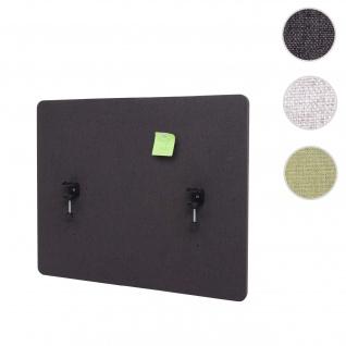 Akustik-Tischtrennwand HWC-G75, Büro-Sichtschutz Schreibtisch Pinnwand, doppelwandig Stoff/Textil ~ 75x60cm braun-grau