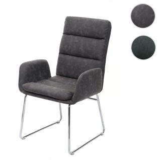 Konferenzstuhl HWC-H32, Küchenstuhl Besucherstuhl mit Armlehne, Kunstleder Stahl ~ grau-braun