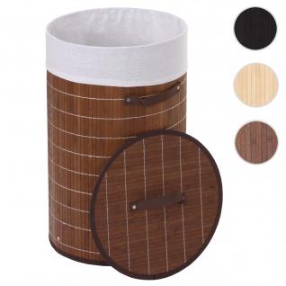 Wäschekorb HWC-C21, Laundry Wäschebox Wäschesammler Wäschebehälter Wäschetonne, Bambus rund 59x35cm 50l