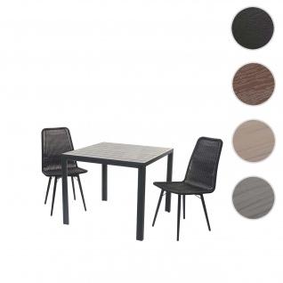 Gartengarnitur HWC-F90, Sitzgruppe Balkon-/Lounge-Set, WPC-Tischplatte 2xPoly-Rattan Stuhl+Tisch 90x90cm ~ schwarz