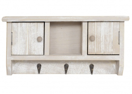 Schlüsselbrett HWC-A48, Schlüsselkasten Schlüsselboard mit Türen, Massiv-Holz ~ shabby beige - Vorschau 3