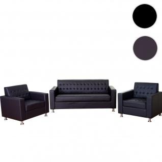 3-1-1 Sofagarnitur Kunda, Couch Loungesofa Kunstleder, Metall-Füße ~ coffee