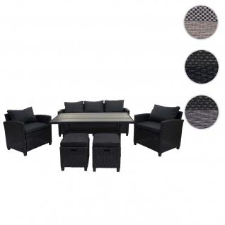 Poly-Rattan Garnitur HWC-E95, Garten-/Lounge-Set Sitzgruppe, Spun Poly halbrundes Rattan ~ schwarz, Kissen anthrazit