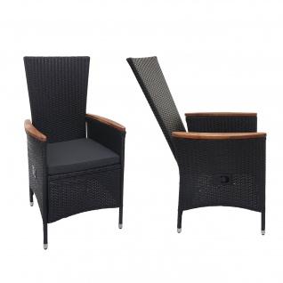 2x Poly-Rattan Sessel HWC-F48, Gartenstuhl Korbsessel, verstellbare Lehne Akazie Holz ~ anthrazit, Kissen dunkelgrau