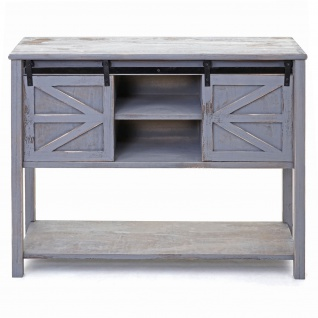 Kommode HWC-D57, Schiebetürenschrank Sideboard Schrank, Shabby-Look Vintage 81x102x34cm ~ dunkelgrau - Vorschau 3