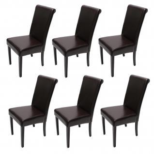 6xEsszimmerstuhl Stuhl Küchenstuhl Novara II, LEDER ~ braun, dunkle Beine