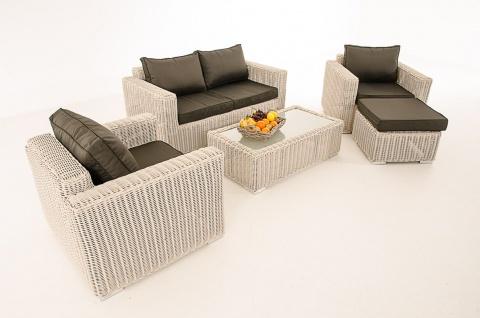 2-1-1 Gartengarnitur CP050 Sitzgruppe Lounge-Garnitur Poly-Rattan ~ Kissen anthrazit, perlweiß