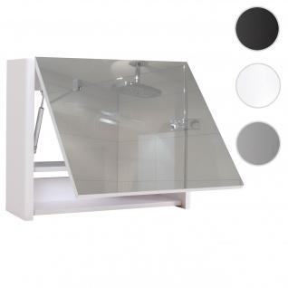 Spiegelschrank HWC-B19, Wandspiegel Badspiegel Badezimmer, aufklappbar hochglanz 48x59cm weiß