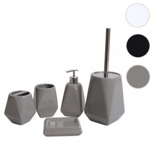 5-teiliges Badset HWC-C71, WC-Garnitur Badezimmerset Badaccessoires, Keramik ~ grau
