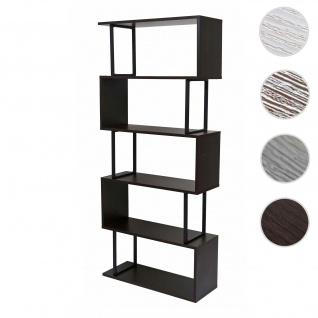 Bücherregal HWC-A27, Standregal Wohnregal, 183x80cm 3D-Struktur 5 Ebenen ~ dunkelbraun, Metall schwarz