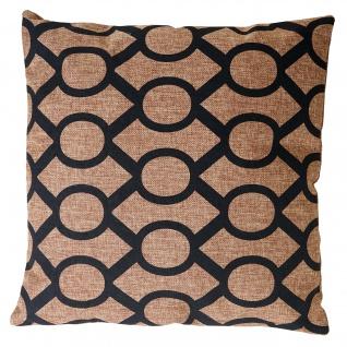 Deko-Kissen Kreise, Sofakissen Zierkissen mit Füllung, braun schwarz 45x45cm