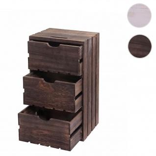 Kommode HWC-C62, Schubladenkommode Holzkiste, Shabby-Look Vintage 3 Schubladen 53x32x26cm ~ braun