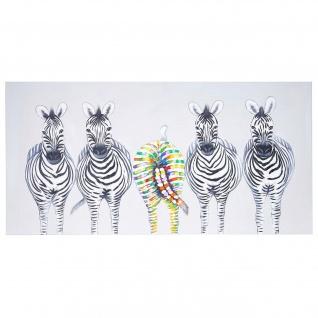 Ölgemälde Zebras II, 100% handgemaltes Wandbild Gemälde XL, 140x70cm