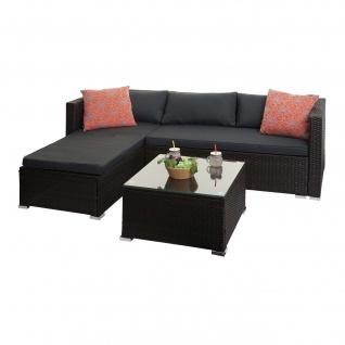 Poly-Rattan Garnitur HWC-F57, Balkon-/Garten-/Lounge-Set Sofa Sitzgruppe ~ braun, Kissen dunkelgrau mit Deko-Kissen - Vorschau 2