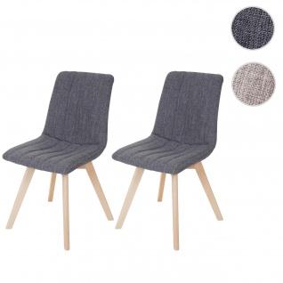 2x Esszimmerstuhl, Stuhl Lehnstuhl, Retro 50er Jahre Design, Stoff/Textil grau