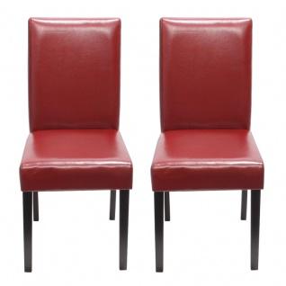2x Esszimmerstuhl Stuhl Küchenstuhl Littau ~ Kunstleder, rot, dunkle Beine