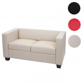 2er Sofa Couch Loungesofa Lille, Leder ~ creme