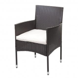 Poly-Rattan Balkonset HWC-G27, Sitzgarnitur Gartengarnitur Sitzgruppe, 2xSessel+Tisch grau, Kissen creme - Vorschau 4