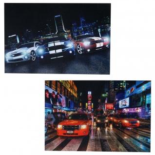 2x LED-Bild Leinwandbild Leuchtbild Wandbild 40x60cm, Timer ~ Cars