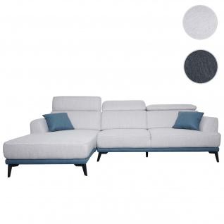 Sofa HWC-G44, Couch Ecksofa L-Form 3-Sitzer, Liegefläche Nosagfederung Taschenfederkern verstellbar ~ links, hellgrau