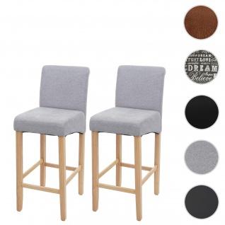 2x Barhocker HWC-C33, Barstuhl Tresenhocker, Holz ~ hellgrau, helle Beine, Stoff/Textil - Vorschau 1