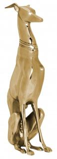 Deko Windhund A109, Figur Dekofigur Hund Skulptur Statue, Aluminium, 70x18x25cm gold
